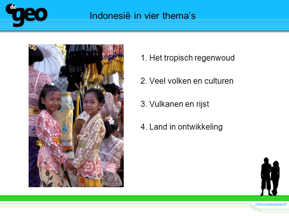 Indonesië in vier thema's 1. Het tropisch regenwoud 2. Veel volken en culturen 3. Vulkanen en rijst 4. Land in ontwikkeling