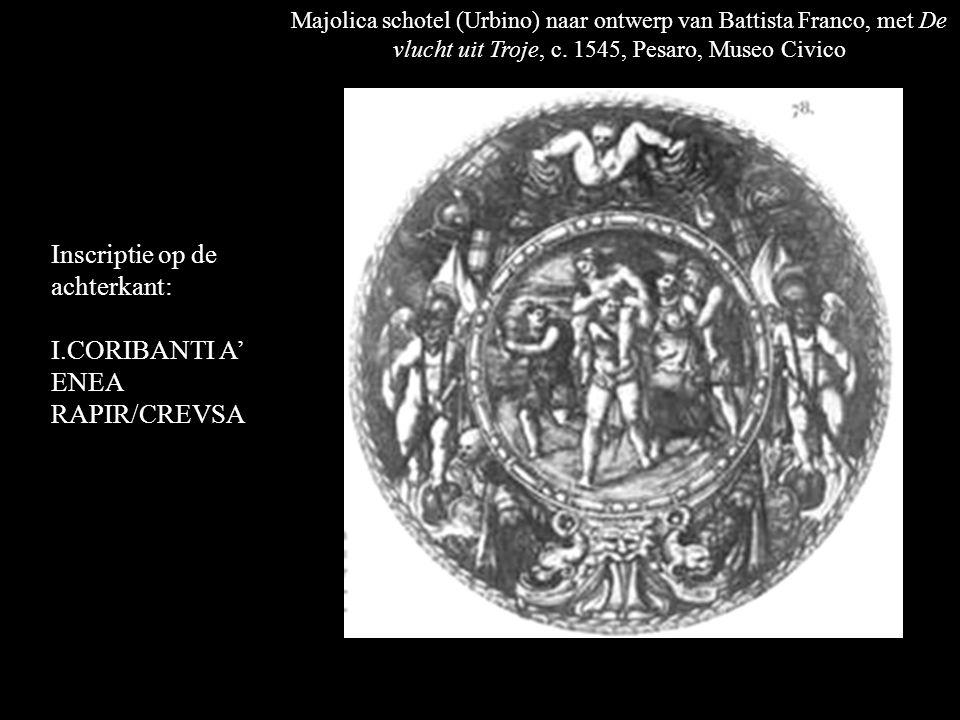 Majolica schotel (Urbino) naar ontwerp van Battista Franco, met De vlucht uit Troje, c.