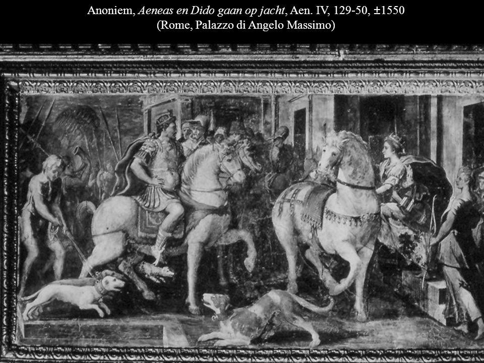 Anoniem, Aeneas en Dido op jacht, Aen. IV, 169-72, ±1550 (Rome, Palazzo di Angelo Massimo)