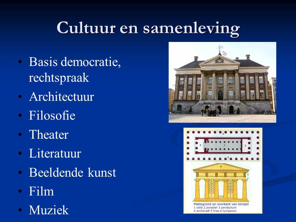 Cultuur en samenleving Basis democratie, rechtspraak Architectuur Filosofie Theater Literatuur Beeldende kunst Film Muziek
