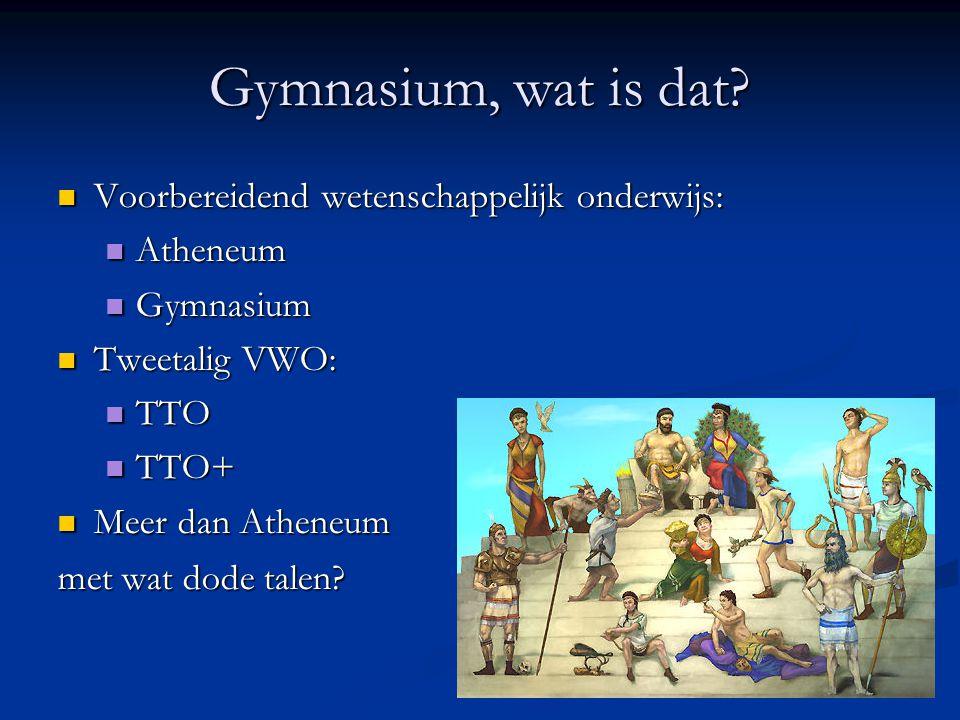Gymnasium, wat is dat? Voorbereidend wetenschappelijk onderwijs: Voorbereidend wetenschappelijk onderwijs: Atheneum Atheneum Gymnasium Gymnasium Tweet