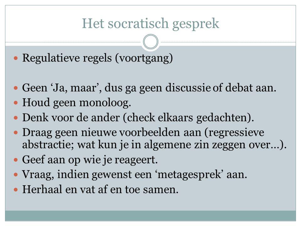Het socratisch gesprek Aan de slag Het thema: Wat is … Taakverdeling (groepjes van 5/6): 1.