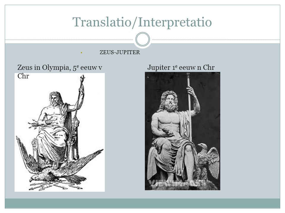 Translatio/Interpretatio ZEUS-JUPITER Zeus in Olympia, 5 e eeuw v Chr Jupiter 1 e eeuw n Chr