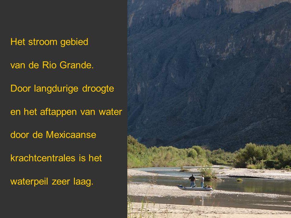 Het stroom gebied van de Rio Grande. Door langdurige droogte en het aftappen van water door de Mexicaanse krachtcentrales is het waterpeil zeer laag.