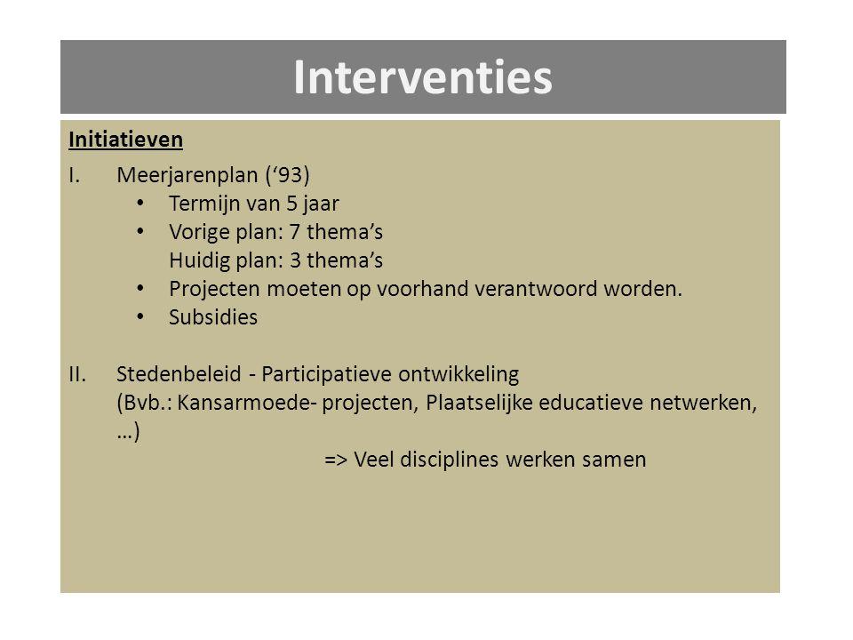 Interventies Initiatieven I.Meerjarenplan ('93) Termijn van 5 jaar Vorige plan: 7 thema's Huidig plan: 3 thema's Projecten moeten op voorhand verantwoord worden.