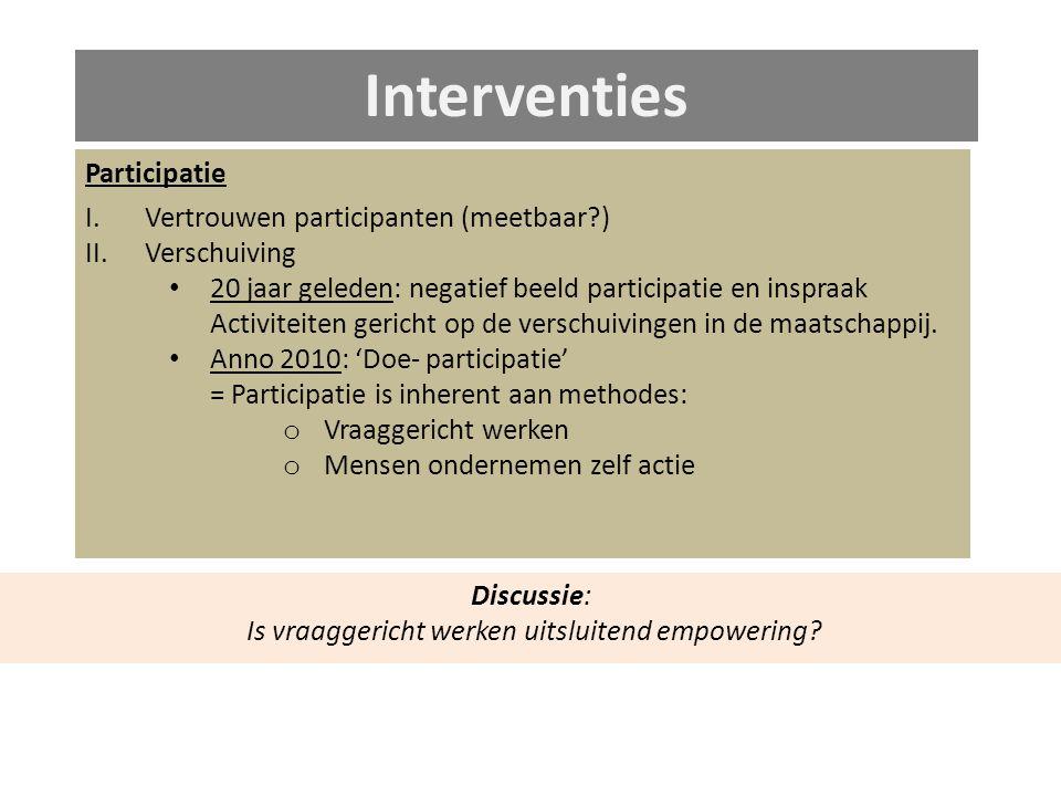 Interventies Participatie I.Vertrouwen participanten (meetbaar ) II.Verschuiving 20 jaar geleden: negatief beeld participatie en inspraak Activiteiten gericht op de verschuivingen in de maatschappij.