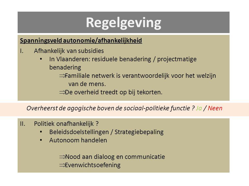 Spanningsveld autonomie/afhankelijkheid I.Afhankelijk van subsidies In Vlaanderen: residuele benadering / projectmatige benadering  Familiale netwerk is verantwoordelijk voor het welzijn van de mens.