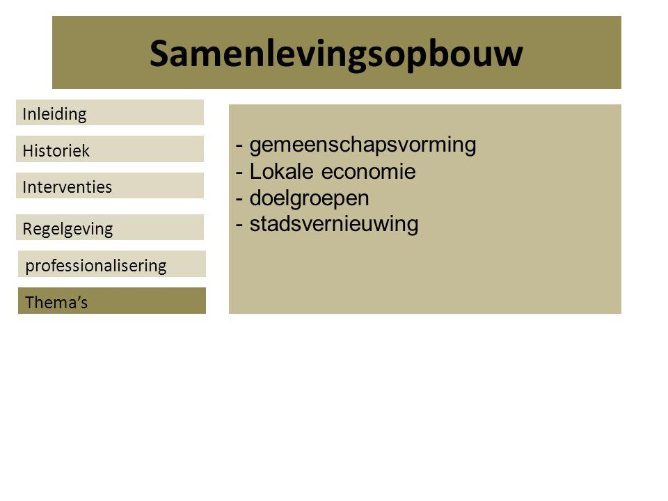 - gemeenschapsvorming - Lokale economie - doelgroepen - stadsvernieuwing Samenlevingsopbouw Historiek Interventies Regelgeving Thema's Inleiding professionalisering