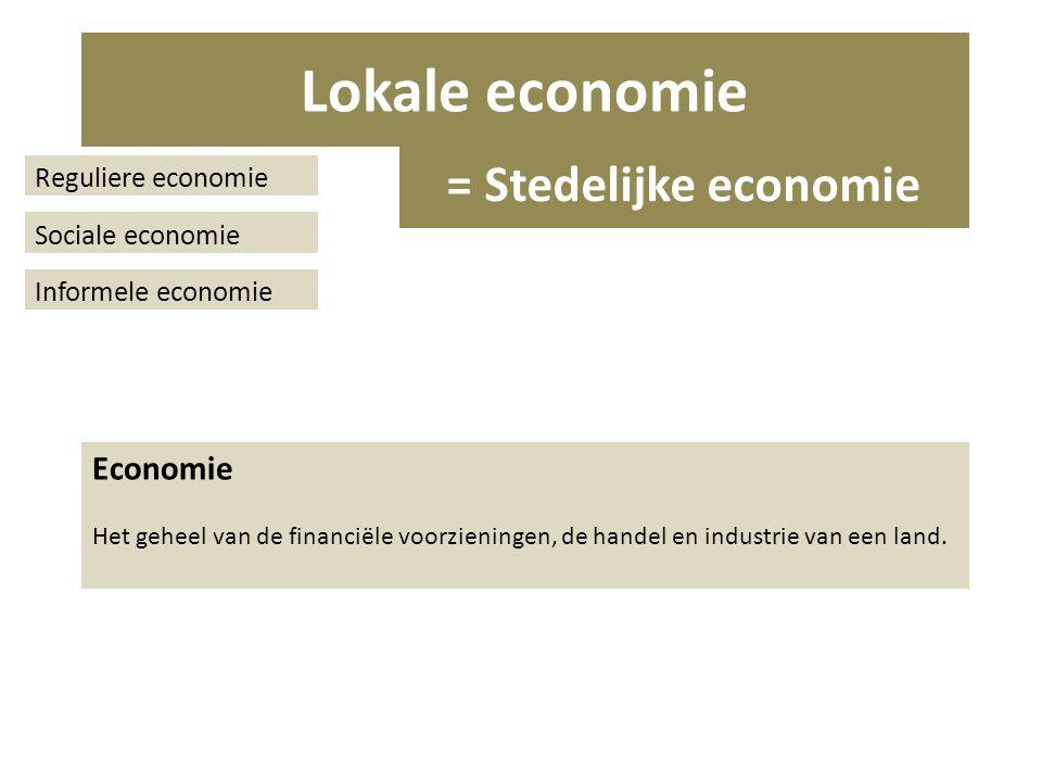 Reguliere economie Sociale economie Informele economie Economie Het geheel van de financiële voorzieningen, de handel en industrie van een land.
