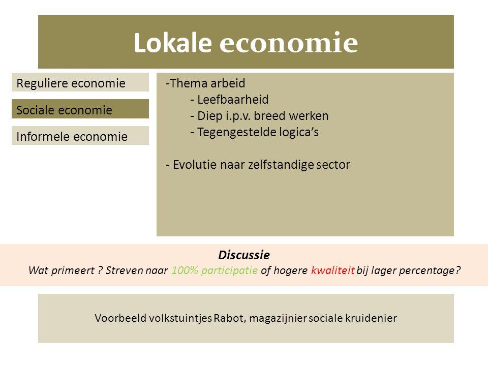 Lokale economie Reguliere economie Sociale economie Informele economie -Thema arbeid - Leefbaarheid - Diep i.p.v.