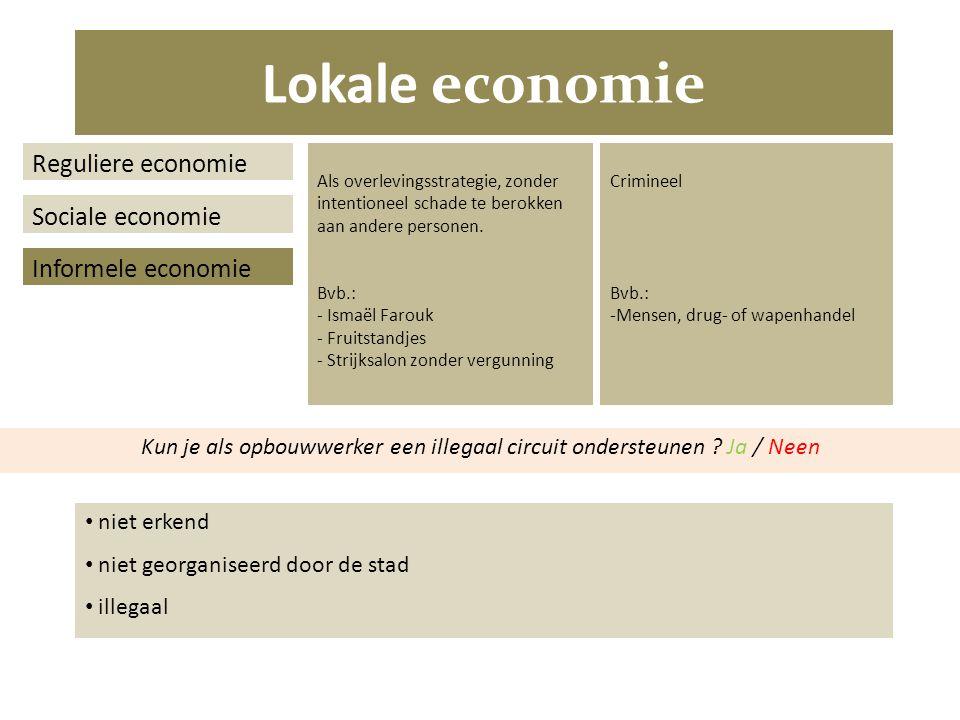 Lokale economie Reguliere economie Sociale economie Informele economie Als overlevingsstrategie, zonder intentioneel schade te berokken aan andere personen.