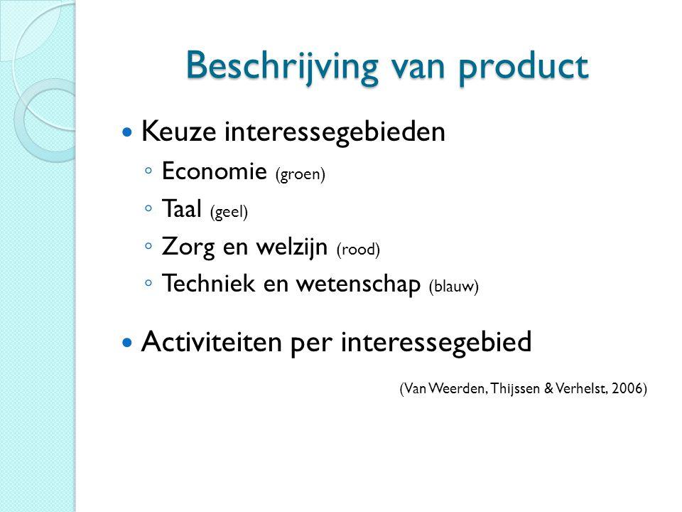 Beschrijving van product Keuze interessegebieden ◦ Economie (groen) ◦ Taal (geel) ◦ Zorg en welzijn (rood) ◦ Techniek en wetenschap (blauw) Activiteit