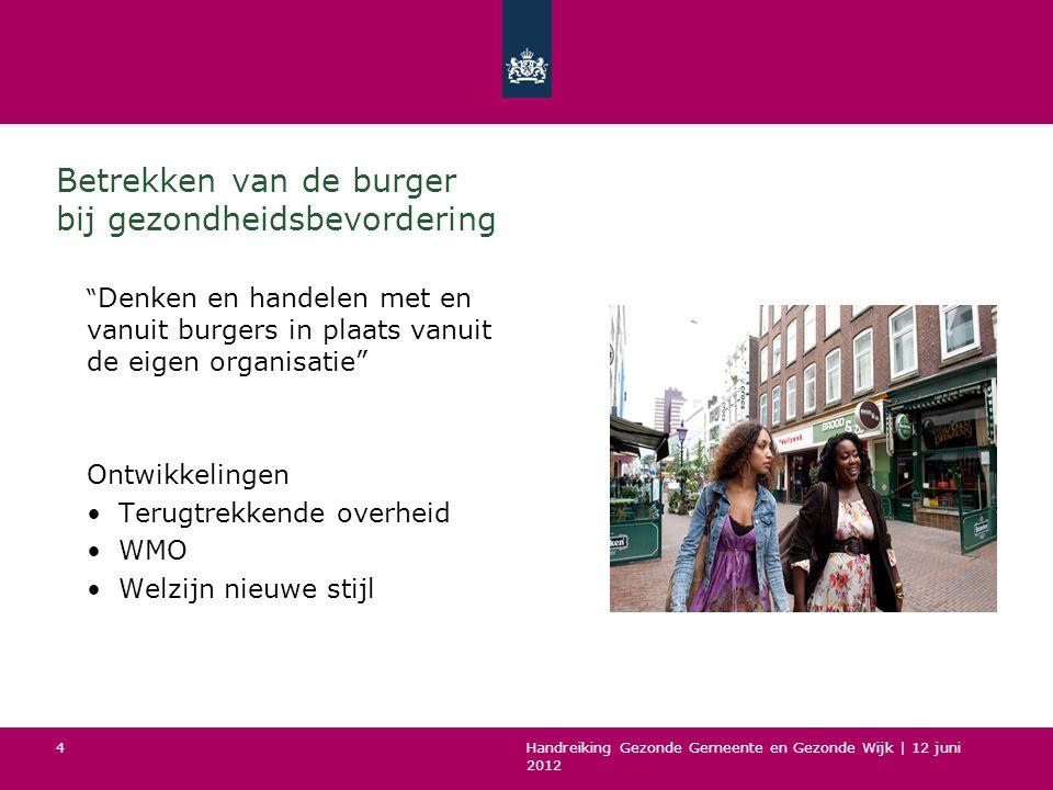 Handreiking Gezonde Gemeente en Gezonde Wijk   12 juni 2012 5 Waarom burgers betrekken.