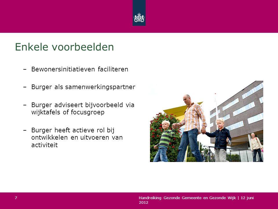 Handreiking Gezonde Gemeente en Gezonde Wijk | 12 juni 2012 7 Enkele voorbeelden –Bewonersinitiatieven faciliteren –Burger als samenwerkingspartner –B