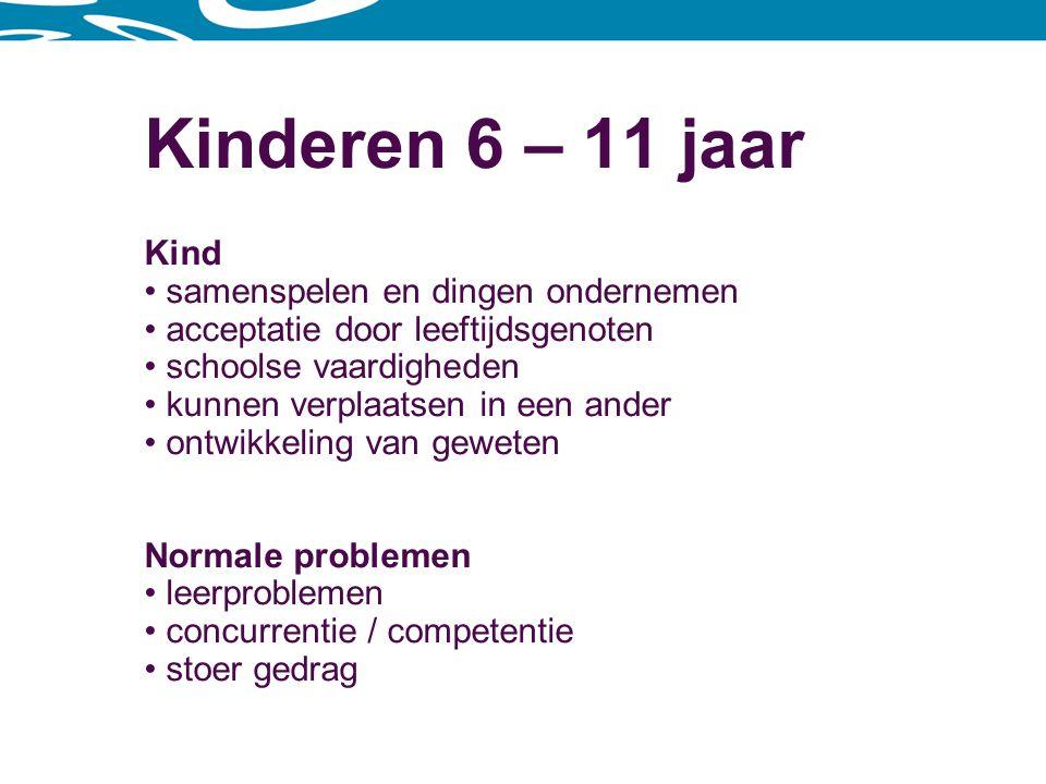 Kinderen 12 – 14 jaar Kind lichamelijke en emotionele ontwikkeling leeftijdsgenoten belangrijker dan ouders veel met zichzelf bezig, identiteit omgaan met andere sekse schoolse vaardigheden Normale problemen onzekerheid experimenteren