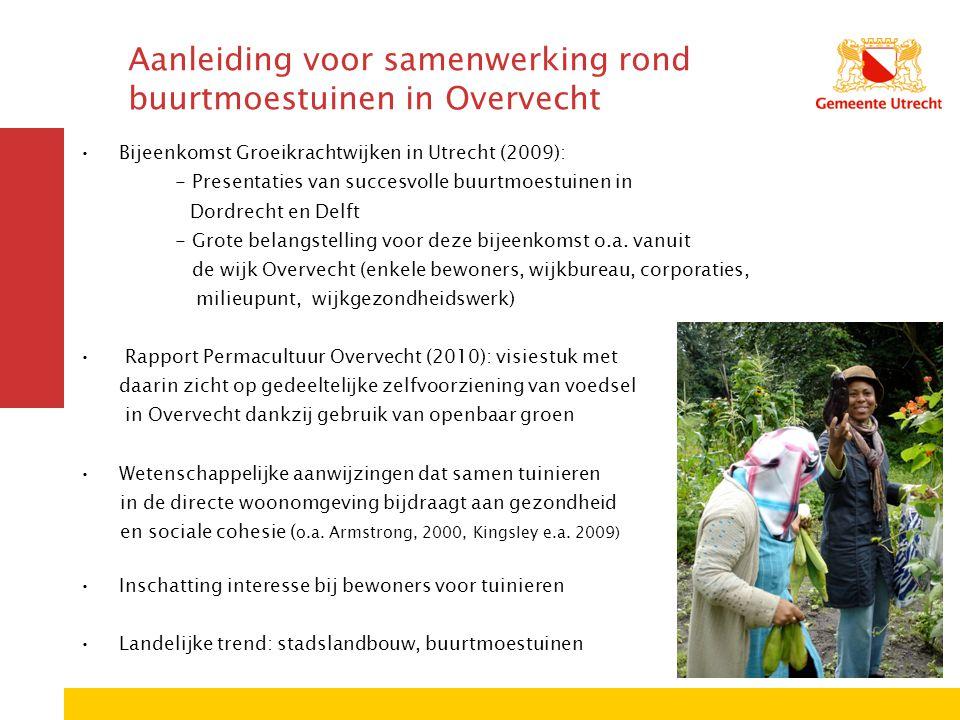 Aanleiding voor samenwerking rond buurtmoestuinen in Overvecht Bijeenkomst Groeikrachtwijken in Utrecht (2009): - Presentaties van succesvolle buurtmoestuinen in Dordrecht en Delft - Grote belangstelling voor deze bijeenkomst o.a.