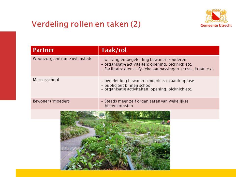 PartnerTaak/rol Woonzorgcentrum Zuylenstede- werving en begeleiding bewoners/ouderen - organisatie activiteiten: opening, picknick etc.
