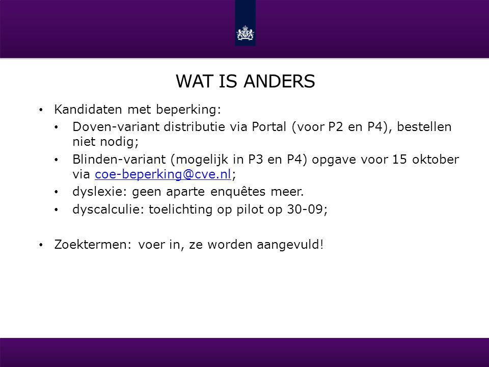 WAT IS ANDERS Kandidaten met beperking: Doven-variant distributie via Portal (voor P2 en P4), bestellen niet nodig; Blinden-variant (mogelijk in P3 en
