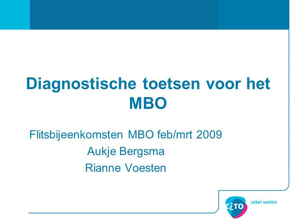 Diagnostische toetsen voor het MBO Flitsbijeenkomsten MBO feb/mrt 2009 Aukje Bergsma Rianne Voesten