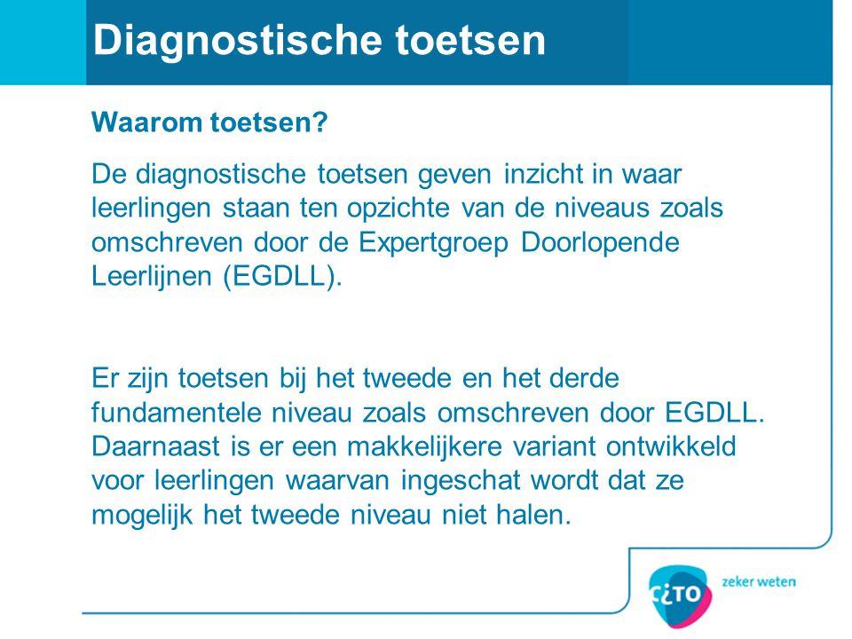 Diagnostische toetsen Fase vooronderzoek (week 9-11 2009): Noodzakelijk om kwalitatief goede toets op te leveren (goede items.