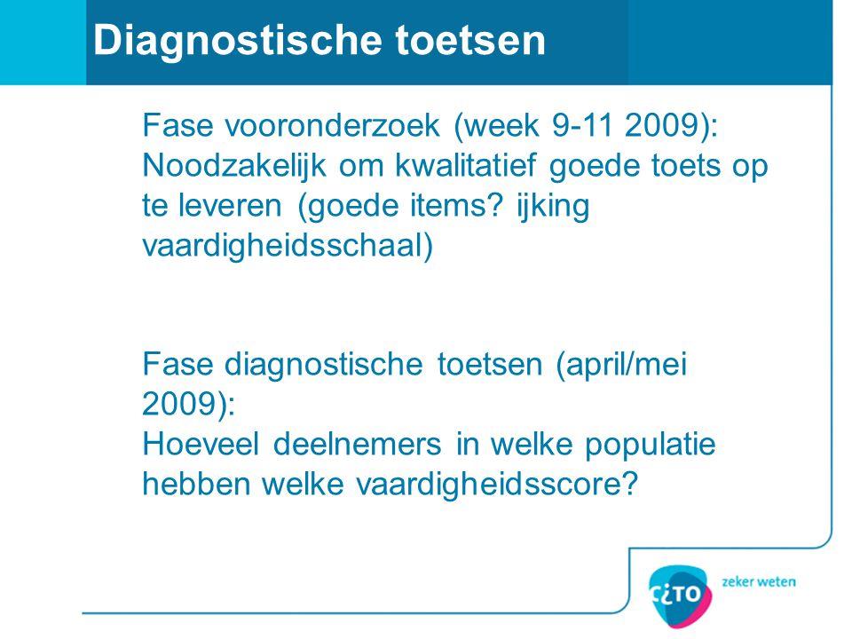 Diagnostische toetsen Fase vooronderzoek (week 9-11 2009): Noodzakelijk om kwalitatief goede toets op te leveren (goede items? ijking vaardigheidsscha