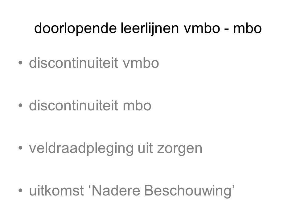 doorlopende leerlijnen vmbo - mbo discontinuiteit vmbo discontinuiteit mbo veldraadpleging uit zorgen uitkomst 'Nadere Beschouwing' de 'Inhaalslag'