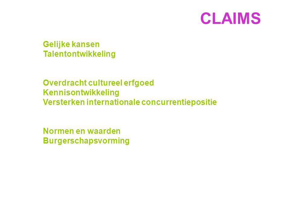 Gelijke kansen Talentontwikkeling Overdracht cultureel erfgoed Kennisontwikkeling Versterken internationale concurrentiepositie Normen en waarden Burgerschapsvorming CLAIMS
