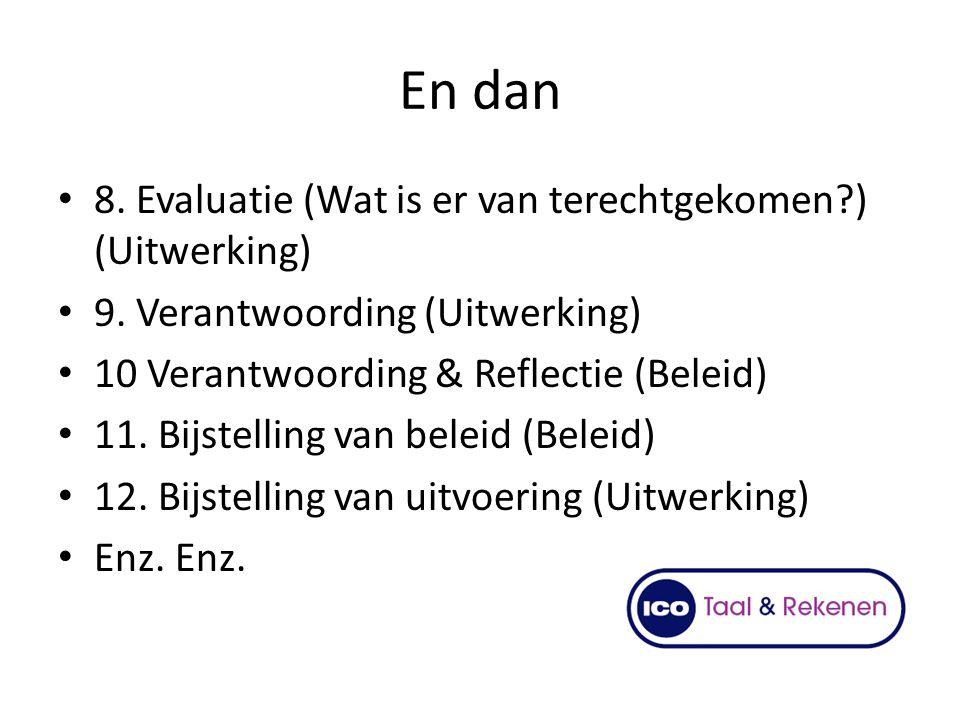 En dan 8. Evaluatie (Wat is er van terechtgekomen?) (Uitwerking) 9. Verantwoording (Uitwerking) 10 Verantwoording & Reflectie (Beleid) 11. Bijstelling