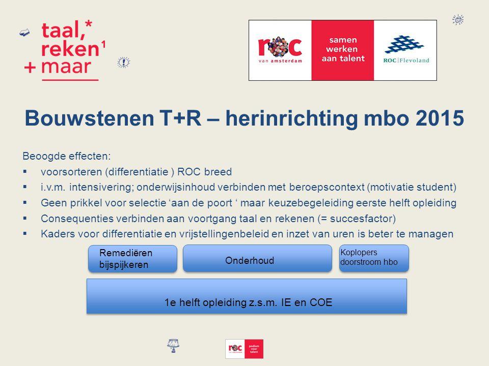 Bouwstenen T+R – herinrichting mbo 2015 Beoogde effecten:  voorsorteren (differentiatie ) ROC breed  i.v.m.