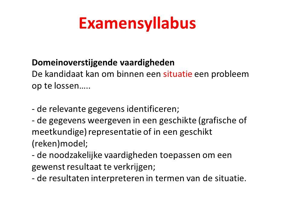 Examensyllabus Domeinoverstijgende vaardigheden De kandidaat kan om binnen een situatie een probleem op te lossen….. - de relevante gegevens identific