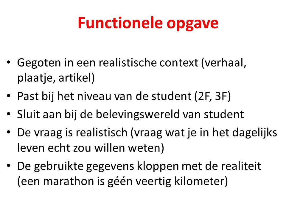 Gegoten in een realistische context (verhaal, plaatje, artikel) Past bij het niveau van de student (2F, 3F) Sluit aan bij de belevingswereld van stude