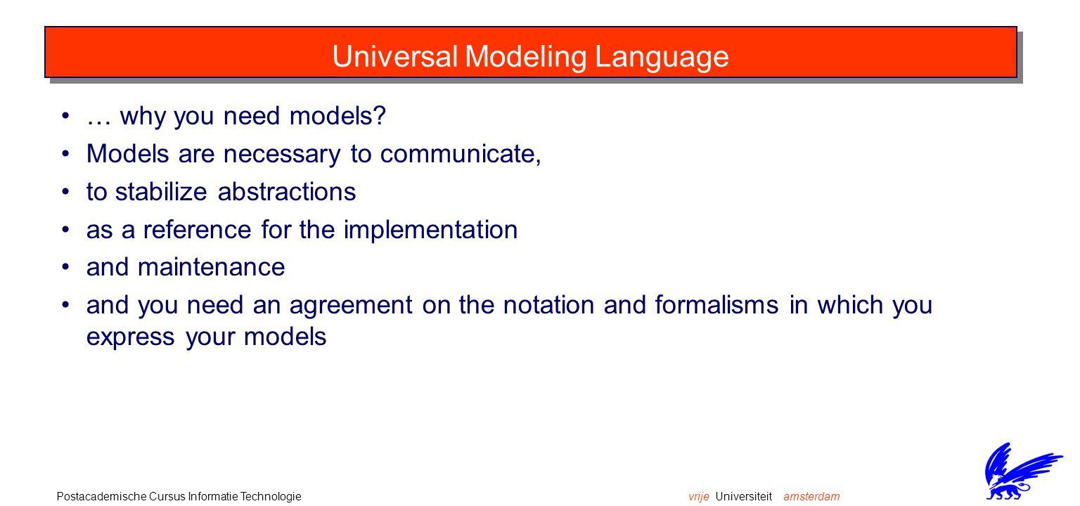 vrije Universiteit amsterdamPostacademische Cursus Informatie Technologie The UML toolbox is very rich.