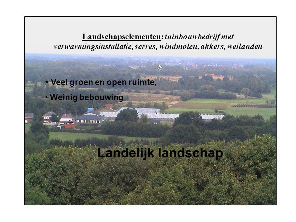Landschapselementen: tuinbouwbedrijf met verwarmingsinstallatie, serres, windmolen, akkers, weilanden Veel groen en open ruimte, Weinig bebouwing Landelijk landschap