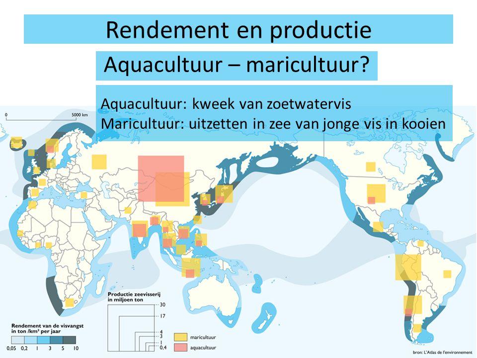 Rendement en productie Aquacultuur – maricultuur? Aquacultuur: kweek van zoetwatervis Maricultuur: uitzetten in zee van jonge vis in kooien