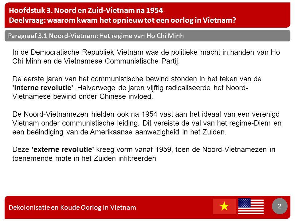 Dekolonisatie en Koude Oorlog in Vietnam 2 Hoofdstuk 3. Noord en Zuid-Vietnam na 1954 Deelvraag: waarom kwam het opnieuw tot een oorlog in Vietnam? 2