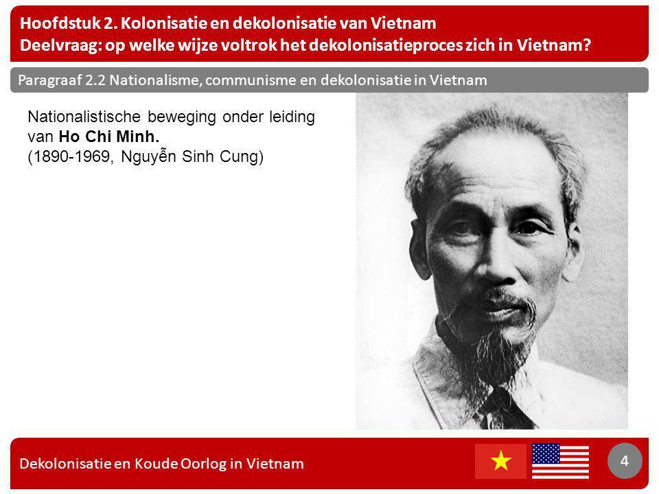 Dekolonisatie en Koude Oorlog in Vietnam 4 Hoofdstuk 2. Kolonisatie en dekolonisatie van Vietnam Deelvraag: op welke wijze voltrok het dekolonisatiepr