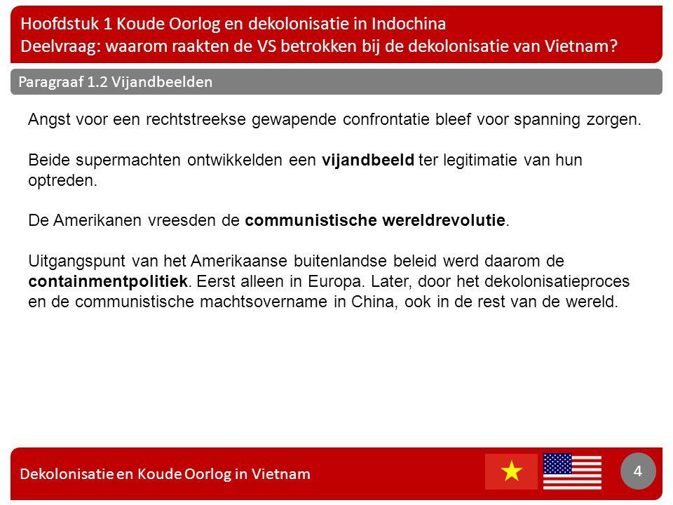 Dekolonisatie en Koude Oorlog in Vietnam 5 Hoofdstuk 1 Koude Oorlog en dekolonisatie in Indochina Deelvraag: waarom raakten de VS betrokken bij de dekolonisatie van Vietnam.