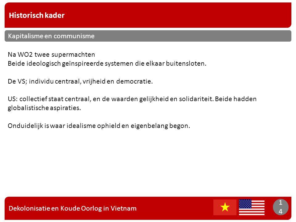 Dekolonisatie en Koude Oorlog in Vietnam 14 Historisch kader 14 Kapitalisme en communisme Na WO2 twee supermachten Beide ideologisch geïnspireerde sys