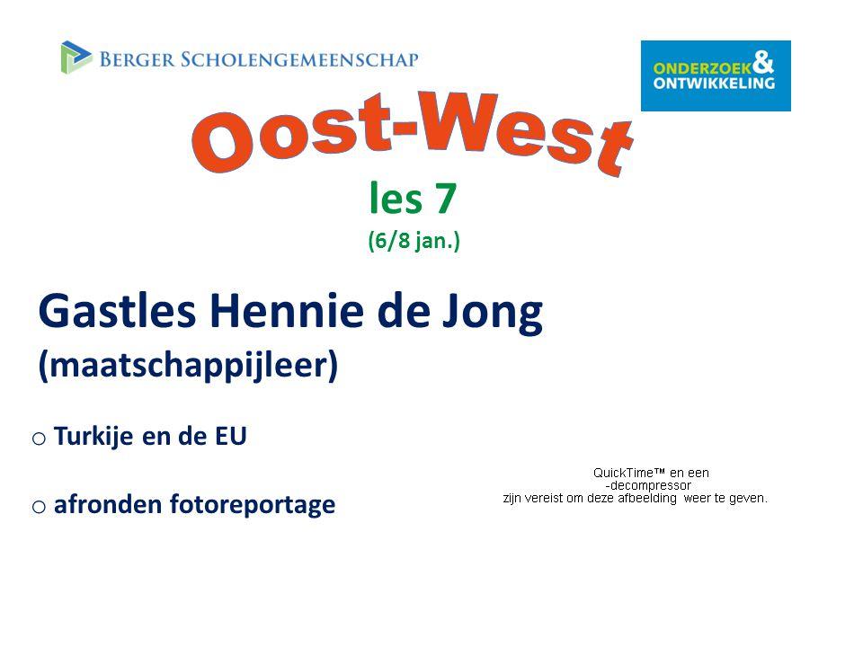 les 7 (6/8 jan.) Gastles Hennie de Jong (maatschappijleer) o Turkije en de EU o afronden fotoreportage