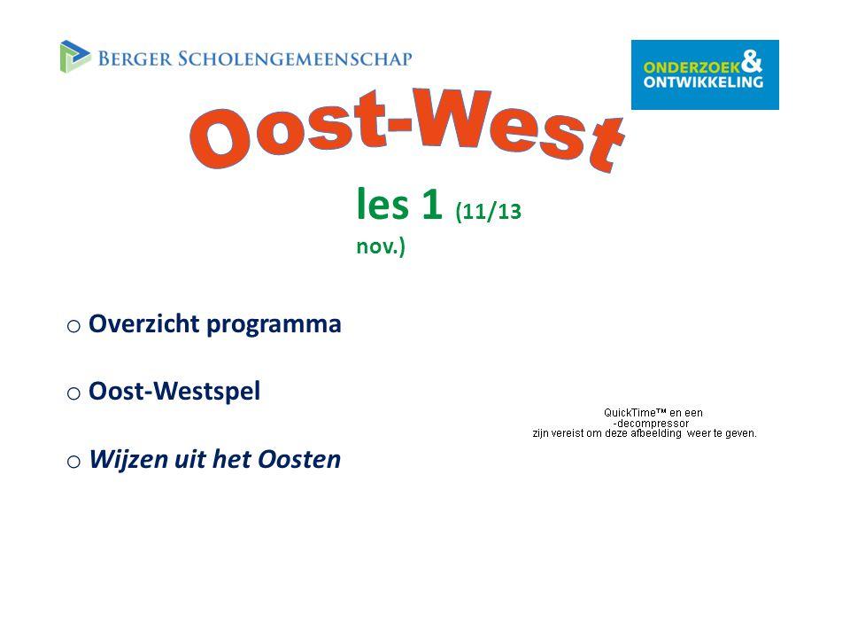 les 1 (11/13 nov.) o Overzicht programma o Oost-Westspel o Wijzen uit het Oosten