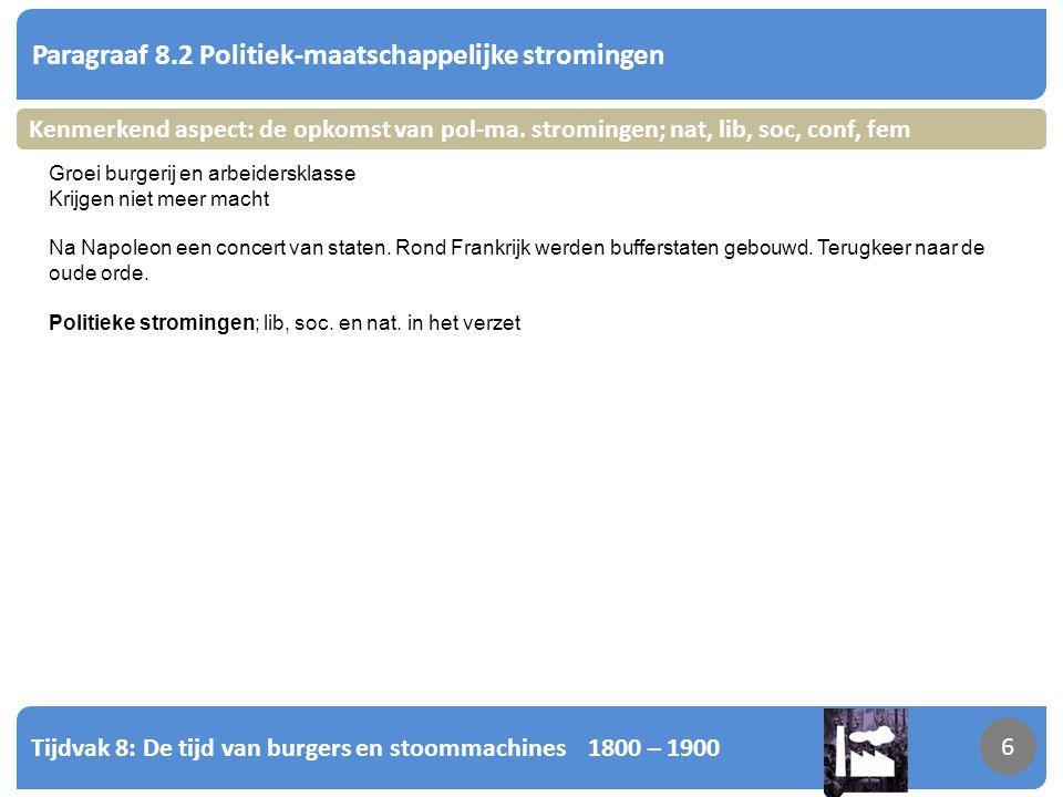 Tijdvak 8: De tijd van burgers en stoommachines 1800 – 1900 7 Paragraaf 8.2 Politiek-maatschappelijke stromingen 7 Kenmerkend aspect: de opkomst van pol-ma.