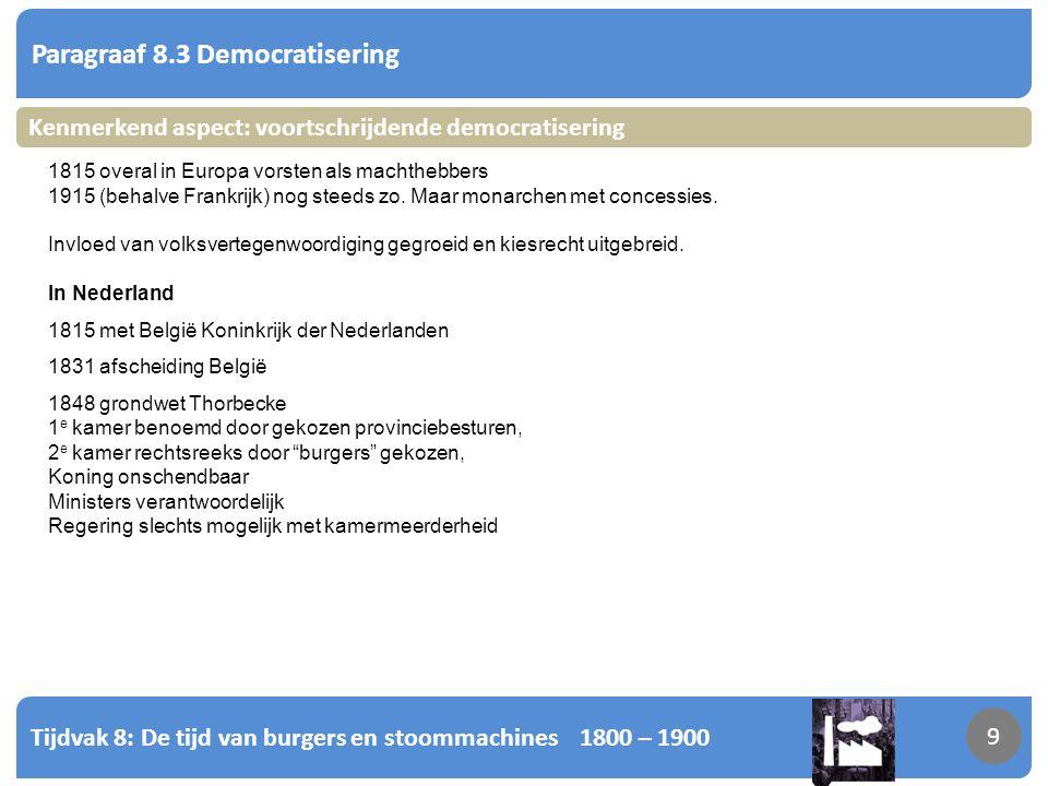 Tijdvak 8: De tijd van burgers en stoommachines 1800 – 1900 10 Paragraaf 8.3 Democratisering 10 Kenmerkend aspect: voortschrijdende democratisering Alleen kiesrecht voor rijke mannen (het verlichte deel der natie).
