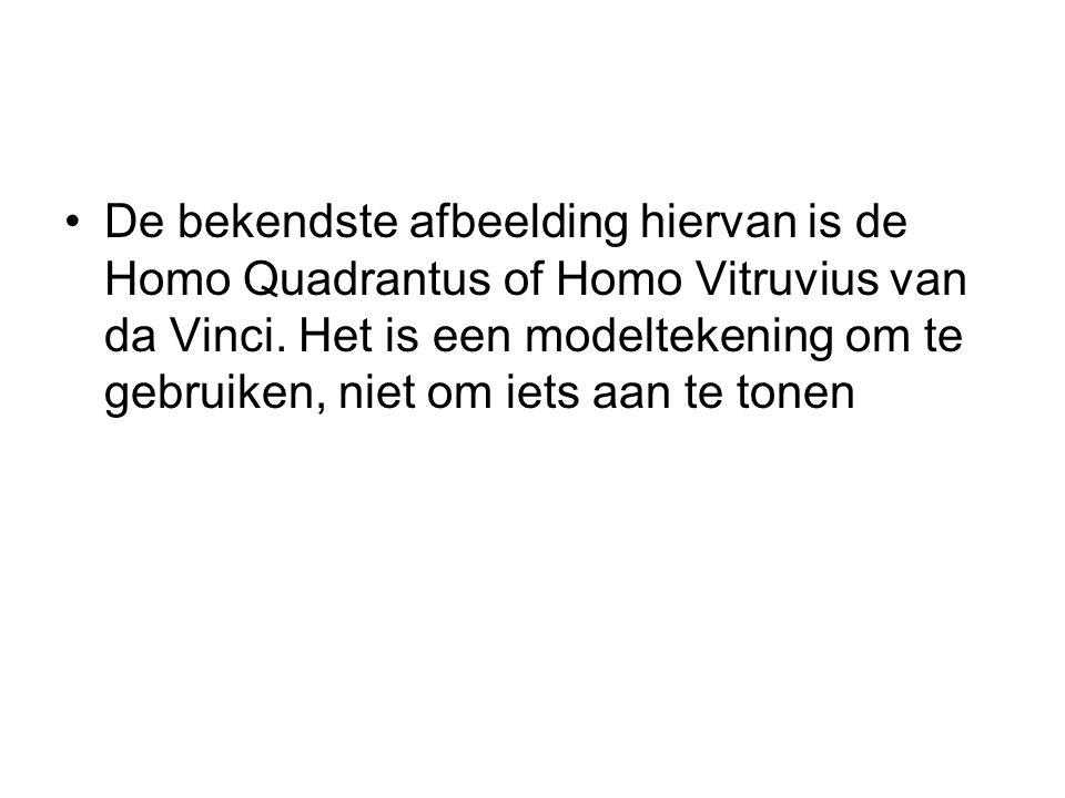 De bekendste afbeelding hiervan is de Homo Quadrantus of Homo Vitruvius van da Vinci. Het is een modeltekening om te gebruiken, niet om iets aan te to