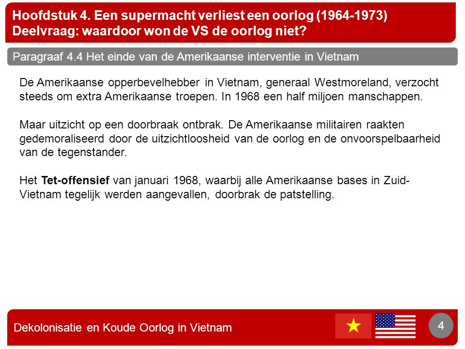Dekolonisatie en Koude Oorlog in Vietnam 4 Hoofdstuk 4. Een supermacht verliest een oorlog (1964-1973) Deelvraag: waardoor won de VS de oorlog niet? 4