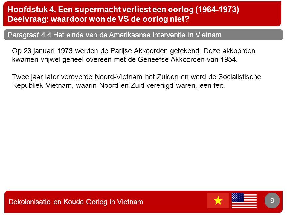 Dekolonisatie en Koude Oorlog in Vietnam 9 Hoofdstuk 4. Een supermacht verliest een oorlog (1964-1973) Deelvraag: waardoor won de VS de oorlog niet? 9