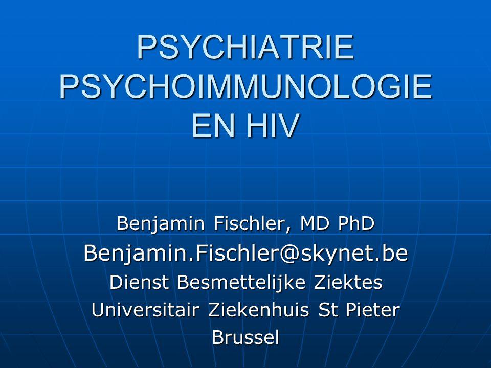 INHOUD Depressie, affect en HIV Depressie, affect en HIV epidemiologieepidemiologie psychofarmacotherapiepsychofarmacotherapie PSYCHOIMMUNOLOGIE stress, virale aandoeningen PSYCHOIMMUNOLOGIE stress, virale aandoeningen PSYCHOIMMUNOLOGIE VIH PSYCHOIMMUNOLOGIE VIH psychobiologisch aspect psychobiologisch aspect psychosociaal aspect psychosociaal aspect