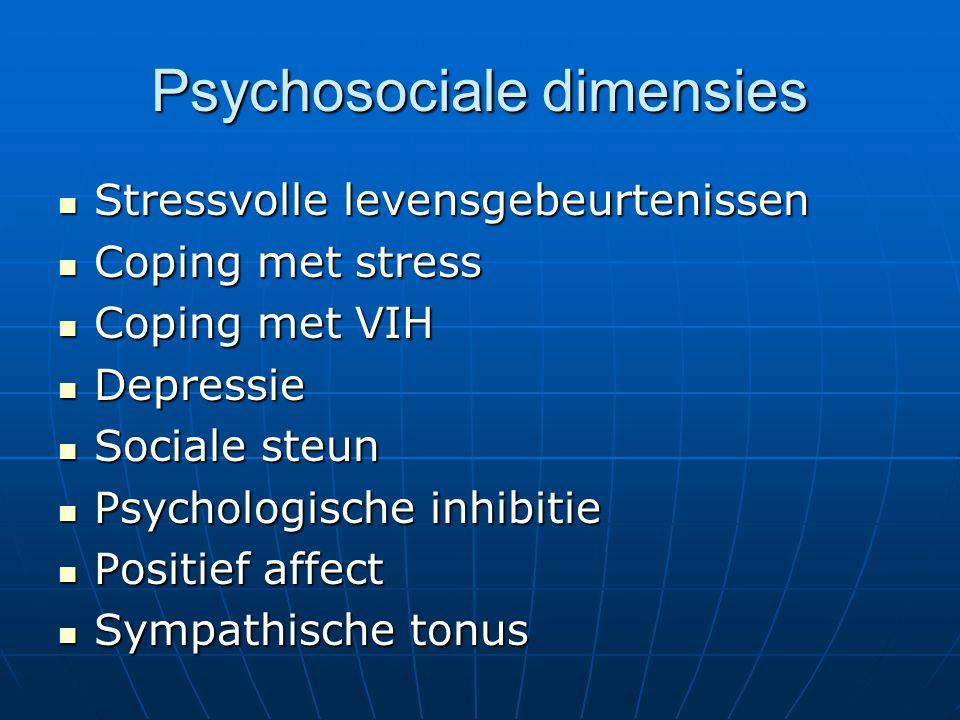 Psychosociale dimensies Stressvolle levensgebeurtenissen Stressvolle levensgebeurtenissen Coping met stress Coping met stress Coping met VIH Coping me