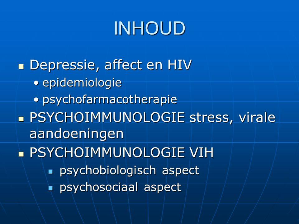 INHOUD Depressie, affect en HIV Depressie, affect en HIV epidemiologieepidemiologie psychofarmacotherapiepsychofarmacotherapie PSYCHOIMMUNOLOGIE stres