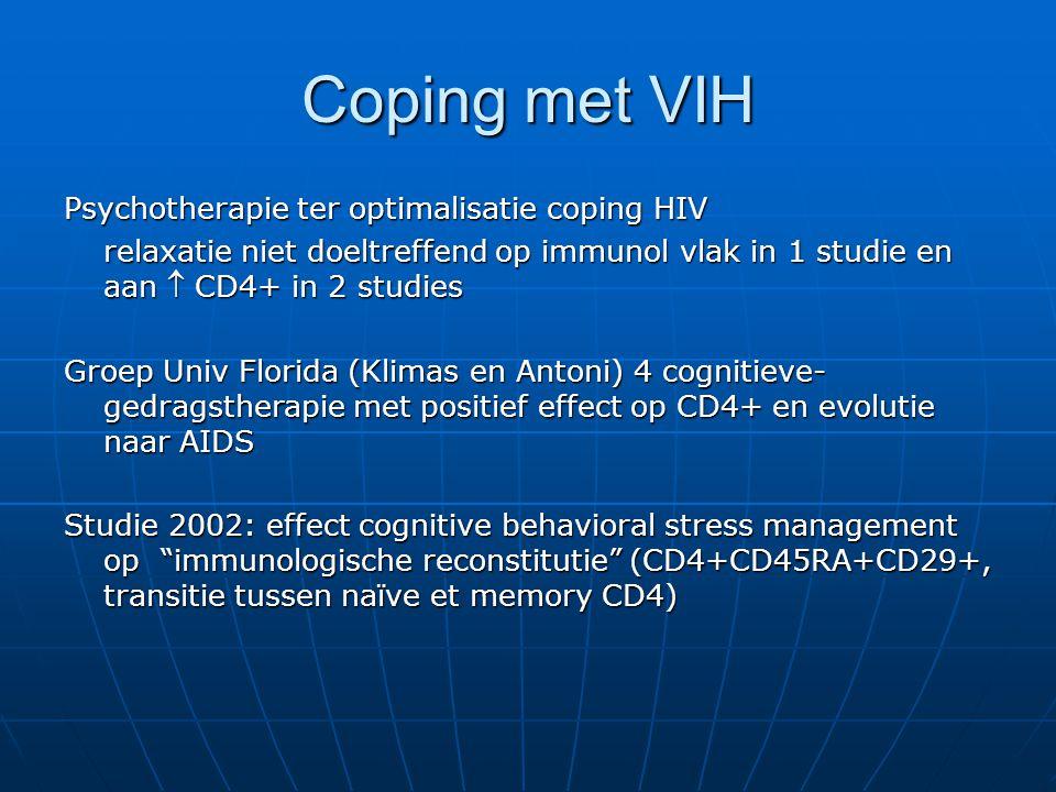 Coping met VIH Psychotherapie ter optimalisatie coping HIV relaxatie niet doeltreffend op immunol vlak in 1 studie en aan  CD4+ in 2 studies Groep Un