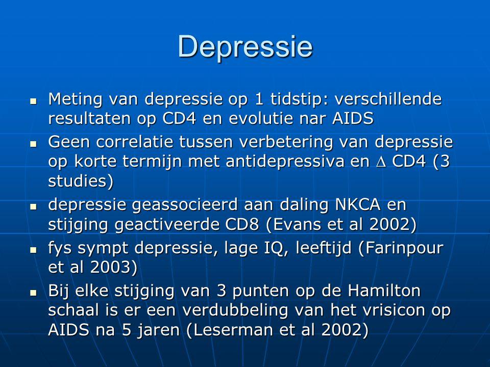 Depressie Meting van depressie op 1 tidstip: verschillende resultaten op CD4 en evolutie nar AIDS Meting van depressie op 1 tidstip: verschillende res